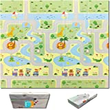 Fun N Well Foldable XPE Baby Play Mat | King Size 197x178x1cm | Non Allergenic & Non Toxic Foam | Waterproof & Reversible | F