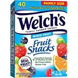 Welch's Fruit Snacks, Mixed Fruit, Gluten Free, Bulk Pack, 0.9 oz Individual Single Serve Bags (Pack of 40)