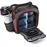 Fit & Fresh Jaxx FitPak Meal Prep Bag and Container Set with 6 Leakproof Portion Control Containers, Ice Pack and 28-Ounce Ja
