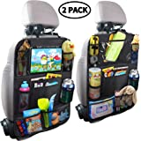 MZTDYTL Car Backseat Organizer with Touch Screen Tablet Holder + 9 Storage Pockets Kick Mats Car Seat Back Protectors Great T