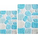 Pebble Bath Rugs Set of 2 21x32/17x34 Turquoise Multi,Bath Room Rugs Set,Bathroom Rugs, Soft Absorbent Machine Washable Bath