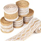 LEOBRO 6Pcs Natural Burlap Lace Craft Ribbon Roll 12 Yards DIY Handmade Crafts Lace Wedding Favor Decoration Shipping by FBA