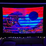 Blacklight Tapestry UV Reactive Trippy Neon The Great Wave Psychedelic Retro Vaporwave Tapestry Blacklight Room Decor Glow in