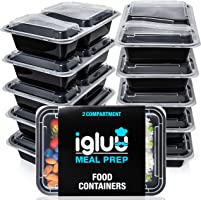 [10 Pack] 2 Compartment BPA Free Reusable Meal Prep Containers - Plastic Food Storage Trays with Airtight Lids -...