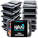 [10 Pack] 2 Compartment BPA Free Reusable Meal Prep Containers - Plastic Food Storage Trays with Airtight Lids - Microwavable