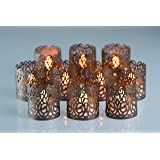 POP STREET Flameless Tea Light Laser Cut Decorative Wraps Candles Holders- 50PCS for Flickering LED Battery Tealight Candles