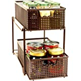 DecoBros Two Tier Mesh Sliding Cabinet Basket Organizer Drawer, Bronze