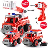 Take Apart Toys with Electric Drill | Converts to Fire Truck Remote Control Car | 3 in one Take Apart Toy for Boys | Gift Toy