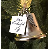 It's a Wonderful Life Inspired Christmas Angel Bell Ornament Stainless Steel Angel Wing Charm Larger Size Now Comes 2 Interch