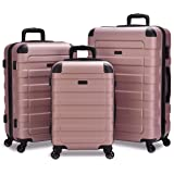 Hipack Prime Suitcases Hardside Luggage with Spinner Wheels, Rose Gold, 3-Piece Set (20/24/28)