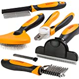 Friends Forever 6 in 1 Professional Pet Grooming Kit Box - Cats Dogs Nail Clippers & File, Wire Dog Brush/Slicker Brush, Desh
