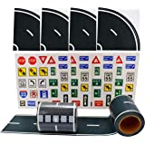 """Fun Road Tape for Toy Cars, 2 Rolls of 33'x2.4"""", Bonus 100 Die Cut Traffic Sign Stickers and 4 Curves, Perfect to Keep Your K"""
