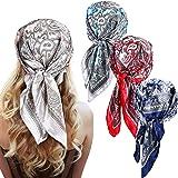 4 Pieces 23.6 Inch Satin Silk Head Scarves Hair Scarf Silk Hair Bandanas Cashew Square Scarves Neckerchief for Women Girls Ha