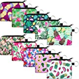 10 Pieces Small Coin Purse Boho Change Purse Pouch Printed Mini Wallet Coin Bag with Zipper for Women Girls (Summer Print,4.7