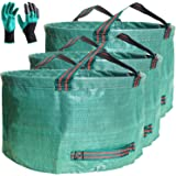 Professional 3-Pack 63 Gallons Lawn Yard Garden Bag with Gardening Gloves - XX Large Size Reusable Leaf Bags - Comparative-Wi