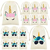 My Greca Unicorn Goodie Bags for Kids - 12 Party Favor Bags For Candy, Treats and Gifts. Unicorn Theme Goody Drawstring Bags