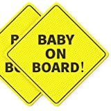 """Baby On Board Sticker Sign - Essential for Cars - 2 Pack, 5"""" by 5"""" - Bright Yellow and SEE-THROUGH when Reversing - Best Safe"""