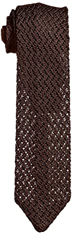 Solid Silk Knit Tie 118-23-2420: Brown