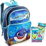 "Baby Shark Backpack Travel Bag for Boys Toddlers Kids Bundle ~ Premium 16"" Baby Shark School Bag Travel Set with Baby Shark C"