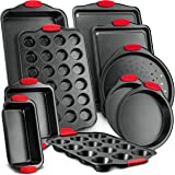Nutrichef NCSBS10S 10-Piece Carbon Steel Nonstick Bakeware Baking Tray Set w/Heat Red Silicone Handles, Oven Safe, Cookie She