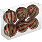 Partyforte Pumpkin Printed Christmas Baubles, 8cm, 6 Count, Red