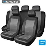 PIC AUTO Universal Fit Full Set Mesh & Leather Car Seat Covers (Gray)