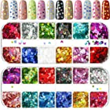 2 Packs Nail Glitter Butterfly Nail Sequin Star Nail Stickers 12 Colors Laser Holographic Nail Sparkle Glitter Sheets Tips Ma