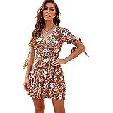 Shmily Girl Women's Dresses Summer Wrap V Neck Bohemian Floral Print Ruffle Swing A Line Beach Mini Dress