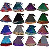 WEVEZ Women's Long Indian Wrap Sari Skirt