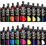 Acrylic Paint, Shuttle Art 18 Colours Acrylic Paint Pouches (120ml/4.06oz), Artist Grade Acrylic Paint Set, Rich Pigments, No