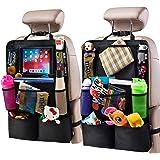 "Helteko Backseat Car Organizer - Kick Mats Back Seat Protector with 10"" Tablet Holder - Car Back Seat Organizer for Kids - Ca"