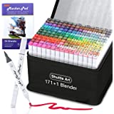 172 Colors Dual Tip Alcohol Based Art Markers,171 Colors Plus 1 Blender Permanent Marker 1 Marker Pad with Case Perfect for K
