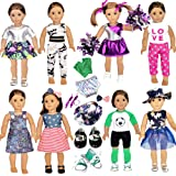 20 Pcs American Doll Clothes and Accessories fit American 18 inch Girl Dolls - Including 8 Complete Set Toys Doll Outfits and