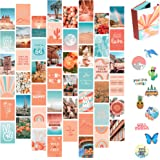 Artivo Peach Teal Aesthetic Wall Collage Kit, 50 Set 4x6 inch, VSCO Girls Bedroom Decor, Orange Boho Dorm Wall Decor, Photo C