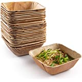 """Brheez Palm Leaf Disposable Bamboo Style Square Bowls 5.5"""" (16oz) - Sturdy, Biodegradable & Compostable - Eco Alternative To"""