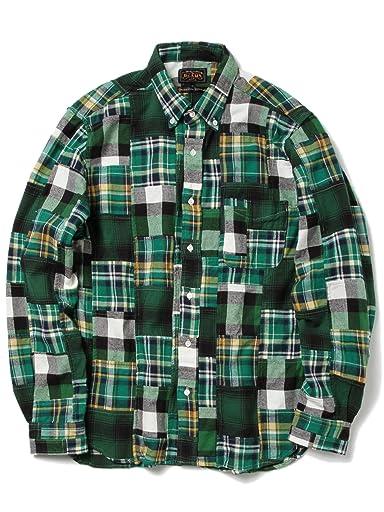 Patchwork Check Buttondown Shirt 11-11-3457-139: Green