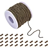 PandaHall 40m Iron Ball Bead Chain with 20 Pieces Matching Connectors(1 Roll 2mm Ball Chain + 20 Connectors)