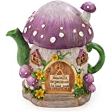 Mushroom Teapot Gnome Fairy House Solar Powered LED Outdoor Decor Garden Light