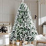 Christmas Tree 1.8M 6FT Jingle Jollys Faux Snowy Tree Xmas Decorations Home Indoor School Mall Store (758 Snow-Sprayed PVC Ti