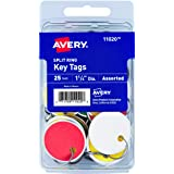 "Avery Metal Rim Key Tags, 1.25"" Diameter Tag, Metal Split Ring, Assorted Colors, 25 Tags (11020)"
