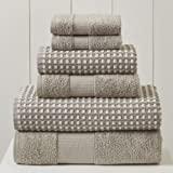 Amrapur Overseas 6-Piece Yarn Dyed Cobblestone Jacquard Towel Set, Flax