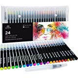 24 Watercolor Paint Brush Pens - Markers for Water Color Calligraphy Lettering and Drawing - Flexible Real Brush Tips - Gorge