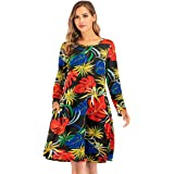 Womens Casual Long Sleeve Loose Printing Swing Tunic T-Shirt Dress with Pocket