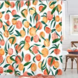 Fowocu Orange Shower Curtain, Watercolor Fruit Theme Bathroom Decor, 72''×72''