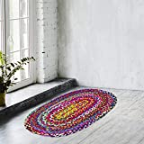 Zahra Handmade Cotton Area Rug- 2x3 Feet Oval Hand Woven Multicolor Recycled Cotton Reversible Braided Rag Rug