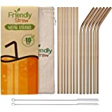 Friendly Straw 10 Pack 21.6 x .6 cm Reusable Metal Straws, 5 Straight 5 Elbow Stainless Steel Drinking Straws with Free Brush