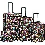 Rockland F125 4 Piece Luggage Set, Owl, One Size