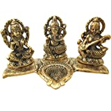 Trendy Crafts Laxmi Ganesh Saraswati Idol - Decorative Platter with Diya Antique Showpiece Set for Worship,Gift and Home Déco