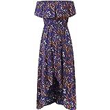 Women's Floral Print Off Shoulder Ruched Casual Irregular Hem Ruffle Dress