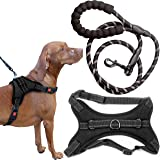 Zenify Pets Dog Harness Leash Set - Chest Control Grab Adjustable Reflective for Medium Dogs (Black 5ft Medium)